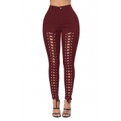 Lovely Trendy Hollow-out Bandage Design Wine Red P