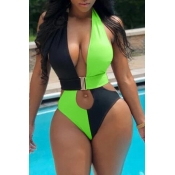 Lovely Patchwork Hollow-out Green One-piece Swimwear