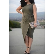 Lovely Casual Sleeveless Army Green Knee Length Pl