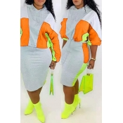 Lovely Casual Hooded Collar Patchwork Croci Two-piece Skirt Set