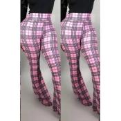 Lovely Work Plaid Printed Pink Pants