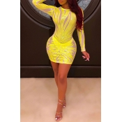 Lovely Chic Patchwork See-through Yellow Mini Dres