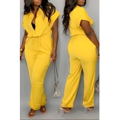 Lovely Casual Drawstring Design Yellow One-piece J