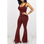 Lovely Trendy Sleeveless Red Flared One-piece Jumpsuit