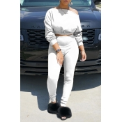 Lovely Chic Off The Shoulder Basic White Two-piece Pants Set