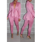 Lovely Work Deep V Neck Layered Pink Two-piece Pants Set