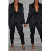 Lovely Work Deep V Neck Layered Black Two-piece Pants Set
