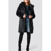 Lovely Casual Long Black Coat