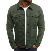 Lovely Casual Buttons Design Green Cowboy Wear