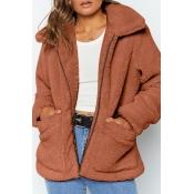 Lovely Leisure Zipper Design Deep Camel Coat