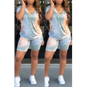 Lovely Casual V Neck Baby Blue Two-piece Shorts Se