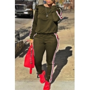 Lovely Casual Striped Flounce Design Army Green Two-piece Pants Set