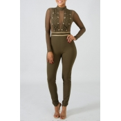 Lovely Trendy See-through Patchwork Green One-piec