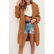 Lovely Trendy Winter Long Brown Coat