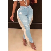 Lovely Trendy Tassel Design Baby Blue Jeans