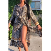 Lovely Casual Leopard Printed Mid Calf Dress