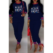Lovely Casual Letter Printed Dark Blue Two-piece P