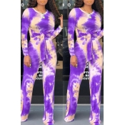 Lovely Trendy Knot Design Purple Two-piece Pants Set