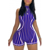 Lovely Casual Striped Purple One-piece Romper