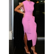 Lovely Party Tank Sleeveless Light Pink Ankle Length Prom Dress