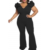 Lovely Casual V Neck Black Plus Size One-piece Jumpsuit