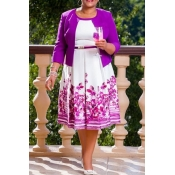Lovely Casual Printed Purple Plus Size Two-piece S