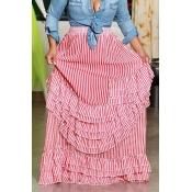 Lovely Casual Ruffle Design Red Skirt