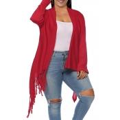 Lovely Casual Tassel Design Red Plus Size Coat