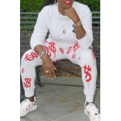Lovely Casual O Neck Printed White Two-piece Pants