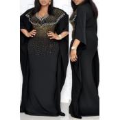 Lovely Temperament Cloak Design Black Floor Length