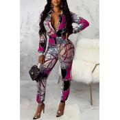 Lovely Casual Zipper Design Rose Red One-piece Jumpsuit