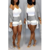 Lovely Casual Patchwork Grey Two-piece Shorts Set(