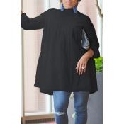 Lovely Work Ruffle Design Black Blouse