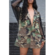 Lovely Casual Turndown Collar Camouflage Printed C