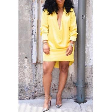 Lovely Trendy Deep V Neck Yellow Mini Dress