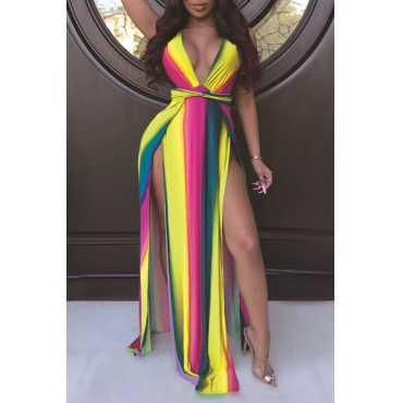 Lovely Sexy Deep V Neck Printed Side Split Yellow Ankle Length Dress