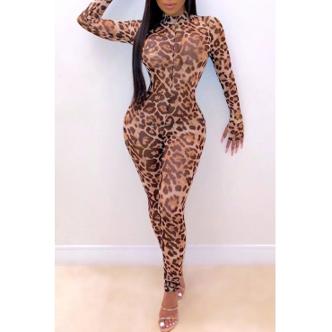 Lovely Casual Leopard Printed One-piece Jumpsuit