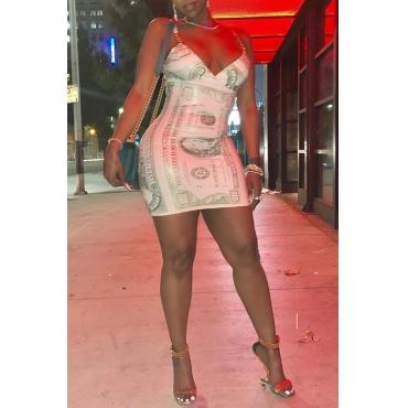 Lovely Trendy Sleeveless Beige Mini Dress