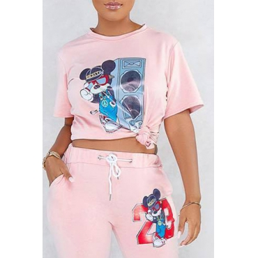 Lovely Trendy Character Printed Pink T-shirt