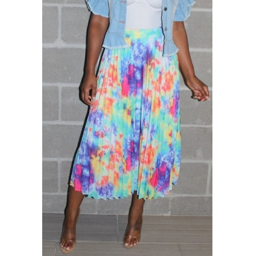 Lovely Trendy Ruffle Design Multicolor Mid Calf Skirt
