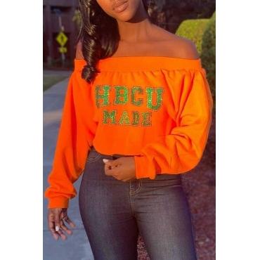 Lovely Casual Letter Printed Orange Sweatshirt Hoodies