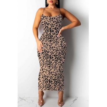 Lovely Trendy Leopard Printed Khaki Ankle Length Dress