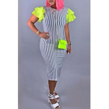 Lovely Trendy Striped Flounce Design White Mid Calf Dress
