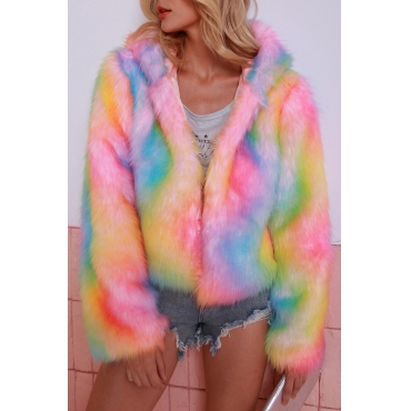 Lovely Casual Hooded Collar Multicolor Coat
