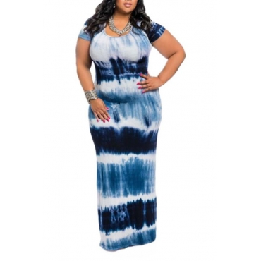 Lovely Casual Gradual Change Printed Blue Length Plus Size Dress