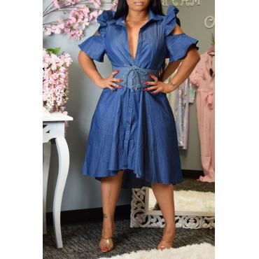 Lovely Sweet Flounce Design Blue Mid Calf Dress