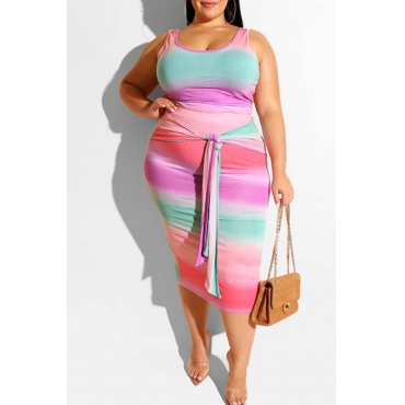 Lovely Casual Gradual Change Printed Pink Plus Size Two-piece Skirt Set