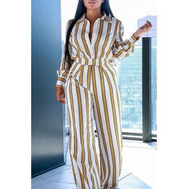 Lovely Work Striped Yellow One-piece Jumpsuit