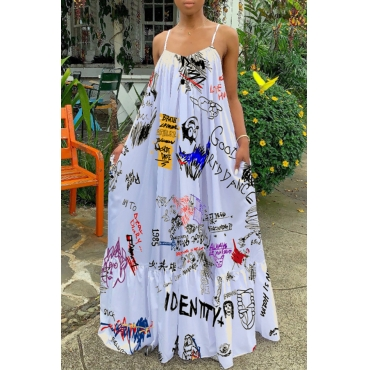 Lovely Casual Spaghetti Straps Printed White Floor Length Dress(Batch Print)