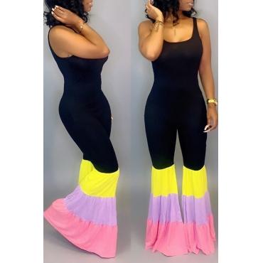 Lovely Casual U Neck Patchwork Black One-piece Jumpsuit